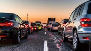 traffic jam on a highway during dusk